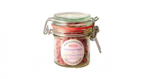 Kristall Salz mit Rosenblüten