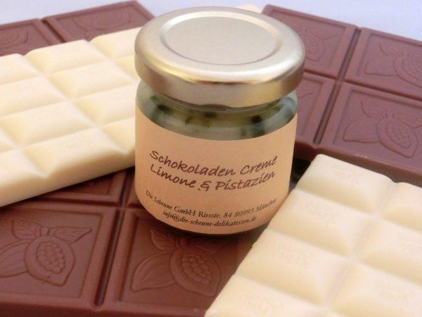 Weiße Schokoladen Creme Limone & Pistazie MHD 13.März 2014