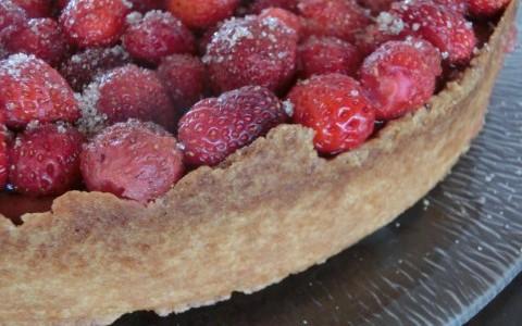 Zimtbluetenzucker zum Erdbeer Kaesekuchen