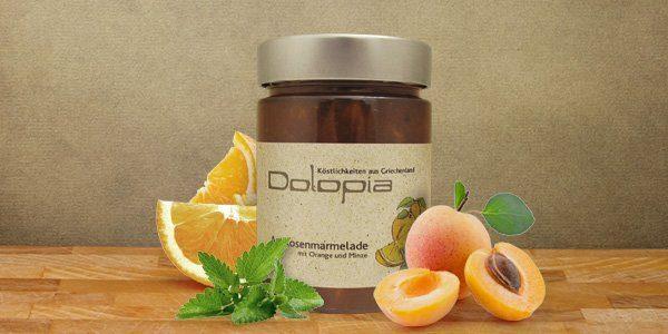 Aprikosenmarmelade mit Orange und Minze